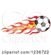 Flying Soccer Ball With A Trail Of Flames