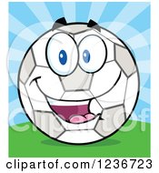 Clipart Of A Happy Smilling Soccer Ball Character And Sunshine Royalty Free Vector Illustration by Hit Toon