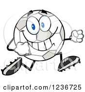 Clipart Of A Happy Soccer Ball Character Running In Cleats Royalty Free Vector Illustration by Hit Toon
