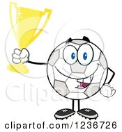 Clipart Of A Happy Soccer Ball Character Holding A Gold Trophy Royalty Free Vector Illustration by Hit Toon
