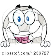 Clipart Of A Happy Smilling Soccer Ball Character Above A Sign Royalty Free Vector Illustration by Hit Toon