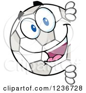 Clipart Of A Happy Smilling Soccer Ball Character Peeking Around A Sign Royalty Free Vector Illustration by Hit Toon