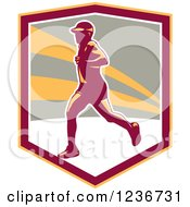 Clipart Of A Male Marathon Runner In A Shield Royalty Free Vector Illustration