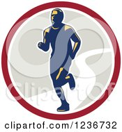 Clipart Of A Male Marathon Runner In A Circle Royalty Free Vector Illustration