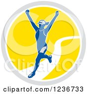 Clipart Of A Female Marathon Runner Finishing In A Circle Royalty Free Vector Illustration