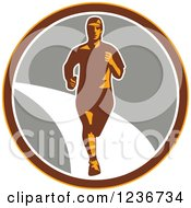 Clipart Of A Male Marathon Runner In A Circle 2 Royalty Free Vector Illustration
