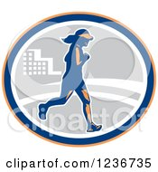 Clipart Of A Female Marathon Runner In An Oval Royalty Free Vector Illustration