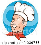 Clipart Of A Happy Male Chef With A Mustache Over A Blue Circle Royalty Free Vector Illustration