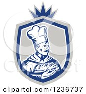 Clipart Of A Retro Woodcut Male Chef Baker Holding Bread In A Shield Royalty Free Vector Illustration