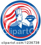 Clipart Of A Male Chef With An American Platter And Steam In A Circle Royalty Free Vector Illustration