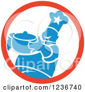 Clipart Of A Happy Blue Chubby Male Chef Holding A Pot In A Circle Royalty Free Vector Illustration