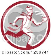 Clipart Of A Retro Chef Running With Hot Soup On A Gray And Red Circle Royalty Free Vector Illustration