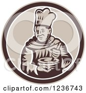 Clipart Of A Retro Woodcut Male Chef Mixing In A Circle Royalty Free Vector Illustration
