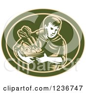 Clipart Of A Retro Woodcut Organic Farmer With Produce In A Green Oval Royalty Free Vector Illustration