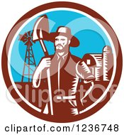 Clipart Of A Retro Woodcut Male Farmer With A Spade Shovel On A Farm Royalty Free Vector Illustration