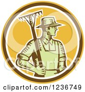 Clipart Of A Retro Woodcut Male Farmer Holding A Rake In A Yellow Circle Royalty Free Vector Illustration