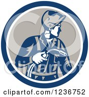 Clipart Of A Retro Welder Worker In A Circle Royalty Free Vector Illustration