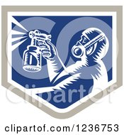 Retro Woodcut Painter Using A Spray Gun In A Blue Shield
