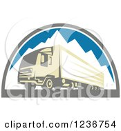 Clipart Of A Retro Big Rig Truck Over Mountains Royalty Free Vector Illustration