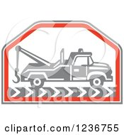 Clipart Of A Retro Gray Tow Truck In A Red Hexagon Royalty Free Vector Illustration