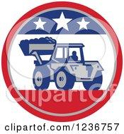 Bobcat Digger Machine In A Patriotic American Circle