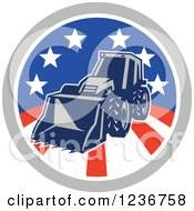 Clipart Of A Bobcat Digger Machine In An American Circle Royalty Free Vector Illustration by patrimonio