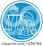 Clipart Of A Blindfolded Lady Justice Holding Scales In A Blue And White Oval Royalty Free Vector Illustration by patrimonio