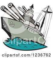 Clipart Of A Cartoon WWII Naval Battleship Royalty Free Vector Illustration