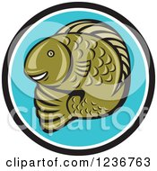 Clipart Of A Happy Green Trout Fish In A Blue Circle Royalty Free Vector Illustration