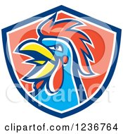 Clipart Of A Crowing Rooster In A Red And Blue Shield Royalty Free Vector Illustration
