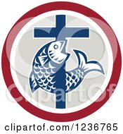 Clipart Of A Christian Cross And Fish In A Circle Royalty Free Vector Illustration