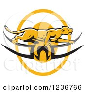 Clipart Of A Cougar Or Mountain Lion Prawling Over A Tribal Logo Royalty Free Vector Illustration by patrimonio