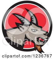 Clipart Of A Cartoon Goat In A Red Circle Royalty Free Vector Illustration