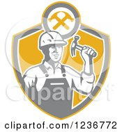 Retro Construction Worker Man Holding A Hammer In A Shield
