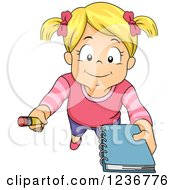 Clipart Of A Blond Girl Asking For An Autograph Royalty Free Vector Illustration by BNP Design Studio