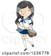 Clipart Of A Japanese Girl In A Sailor Uniform Royalty Free Vector Illustration
