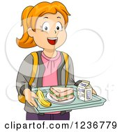 Clipart Of A Happy Red Haired School Girl With A Cafeteria Lunch Tray Royalty Free Vector Illustration