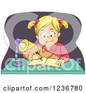 Clipart Of A Happy Blond Girl Writing At A Desk At Night Royalty Free Vector Illustration by BNP Design Studio