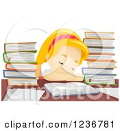 Clipart Of A Tired Blond School Girl Sleeping At A Desk With Books Royalty Free Vector Illustration