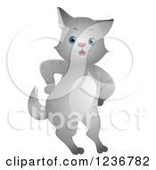 Clipart Of A Cute Gray Cat Standing With Its Paws On Its Hips Royalty Free Vector Illustration