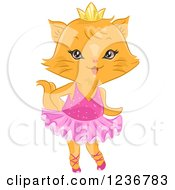 Clipart Of A Cute Female Ginger Cat Ballerina Royalty Free Vector Illustration by BNP Design Studio