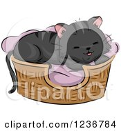 Clipart Of A Cute Black Tabby Cat Resting In A Bed Royalty Free Vector Illustration