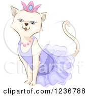 Clipart Of A Cute Spoiled White Cat In A Tiara Royalty Free Vector Illustration by BNP Design Studio