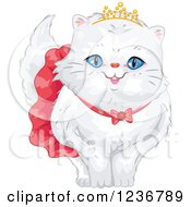 Clipart Of A Cute Spoiled Persian Cat In A Skirt And Tiara Royalty Free Vector Illustration