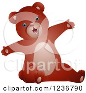 Clipart Of A Cute Bear Stretching With Open Arms Royalty Free Vector Illustration