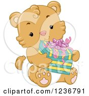Clipart Of A Cute Bear Cub Holding A Baby Shower Present Royalty Free Vector Illustration
