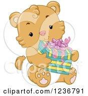 Cute Bear Cub Holding A Baby Shower Present