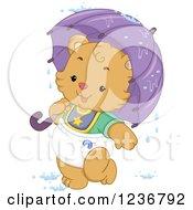 Cute Bear Cub With An Umbrella In Baby Shower Rain