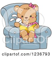 Clipart Of A Cute Female Bear Cub Reading A Book In A Chair Royalty Free Vector Illustration by BNP Design Studio