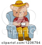 Clipart Of A Happy Male Bear Drinking Coffee In A Chair Royalty Free Vector Illustration by BNP Design Studio